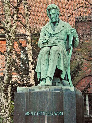 The Søren Kirkegaard statue in the Royal Libra...