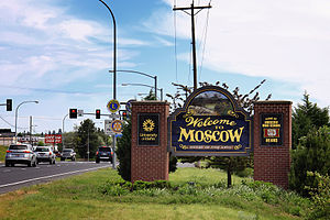 English: Moscow, Idaho — Welcome Sign. Русский...