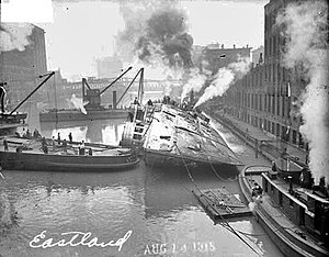The steamer Eastland being righted after capsi...