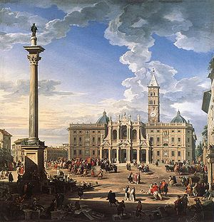 Rome, The Piazza and Church of Santa Maria Mag...