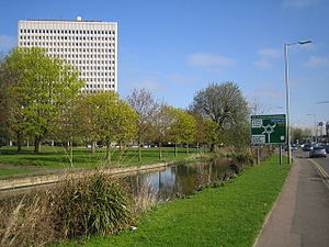 River Gade and the Kodak building, Hemel Hempstead