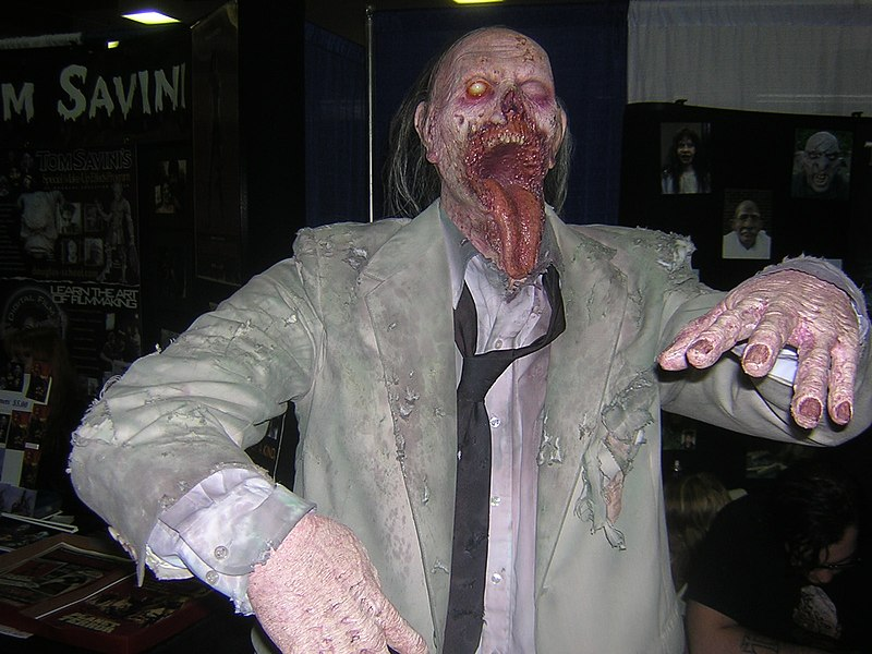 Description English: A jawless zombie, as done by students in Tom Savini's Special Make-Up Effects Program at the 2008 Pittsburgh Comicon. Date	27 April 2008, 12:15 Source	Jawless Zombie Uploaded by GrapedApe Author	Jim Reynolds from Cleveland, USA