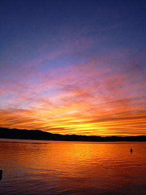 English: colourful sunset. knysna, south afric...