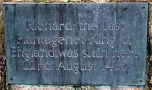 English: Memorial plaque to King Richard III; ...