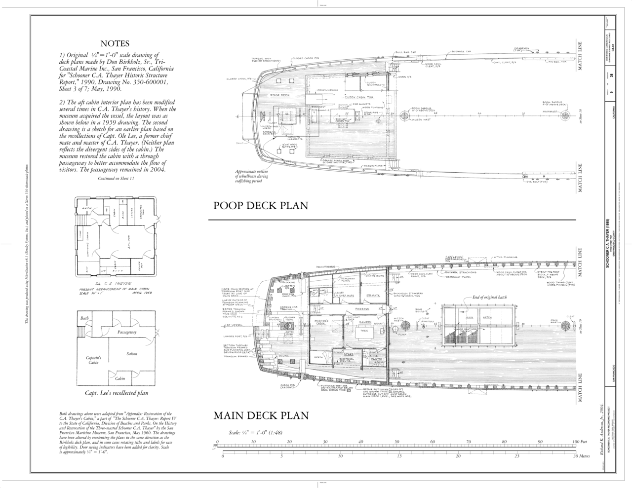 hight resolution of file poop deck plan main deck plan schooner c a thayer hyde street pier san francisco san francisco county ca haer cal 38 sanfra 199 sheet 9 of