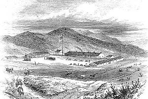 English: Etching of the Presidio of San Franci...