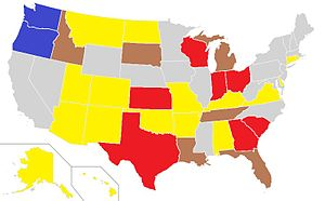 English: map of voter ID laws in US