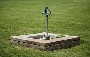 English: Outdoor faucet in a park in Champaign...