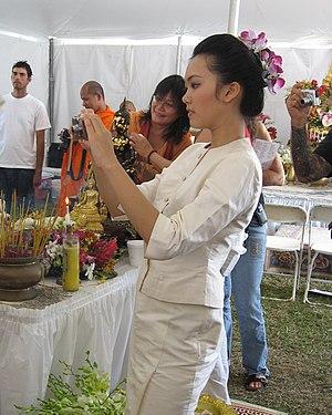 Asian girl in white clothing