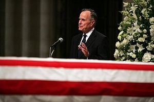 Bush delivers a eulogy to Ronald Reagan, June ...