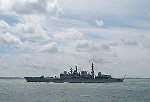 HMS Gloucester (D96) photographed leaving Port...