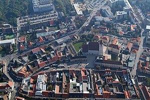 Aerial view of Eisenstadt, Burgenland (Austria).