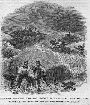 English: Scenes of the rescue of Lady Elgin's ...