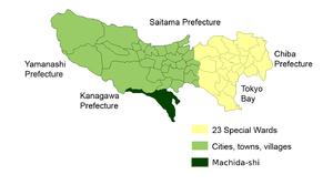 Location of Machida City in Tokyo