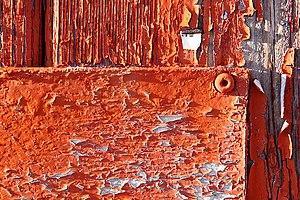 Orange peeling paint.