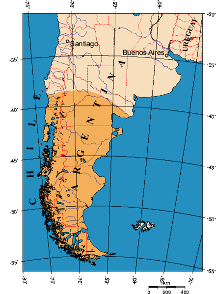 A map of the Patagonia region of South America.