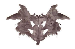 The first blot of the Rorschach inkblot test