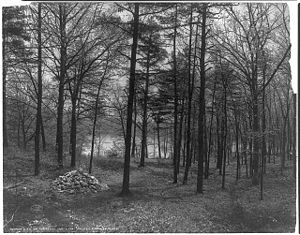 The site of Henry David Thoreau's cabin marked...
