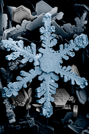 Ordinary hexagonal dendrite snowflake, highly ...