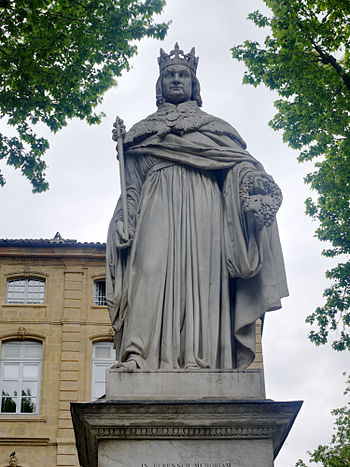 English: Statue of the Roi René, on the end of...