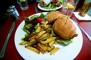 English: Amazing veggie burger at Herbivore. F...