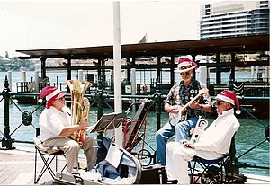 English: Musicians on Sydney Harbour during 20...
