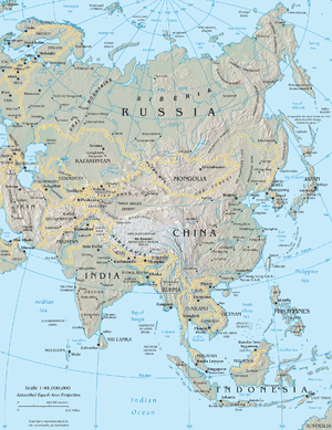 Map of Asia, the Middle East was cropped right...