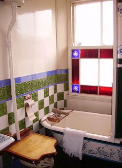 A bathroom in the Beamish Museum near Durham, ...