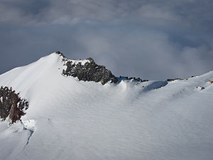 English: A photograph of Camp Muir from the di...
