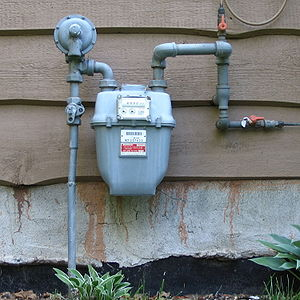 A residential gas meter of the usual diaphragm...