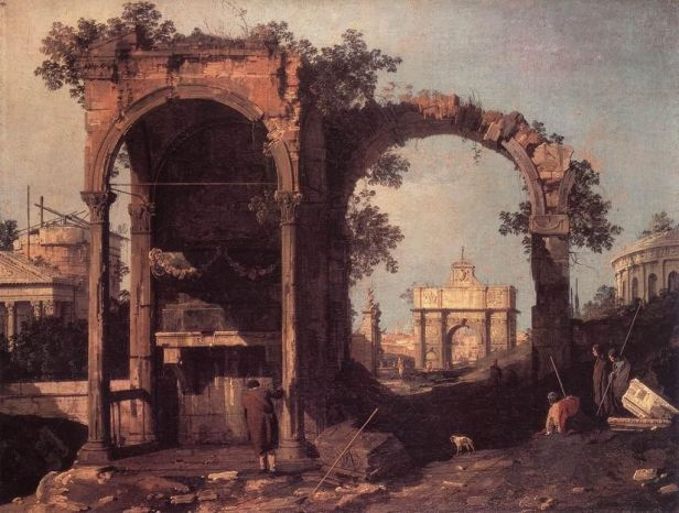 """""""Capriccio: Ruins and Classic Buildings"""" by Canaletto"""