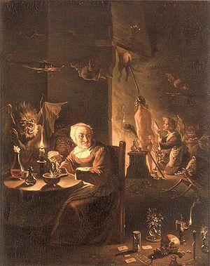 Cotidiano numa casa de bruxa (cerca 1700).