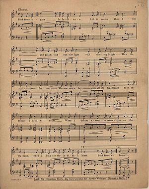 "Sheet music of ""Indiana"". Page 2 of 2."