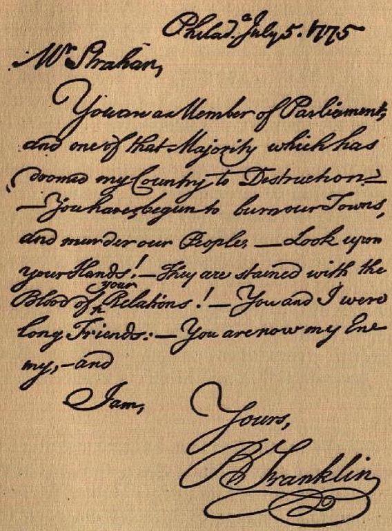 Benjamin Franklin letter