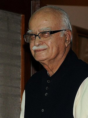 English: cropped photograph of L K Advani with...