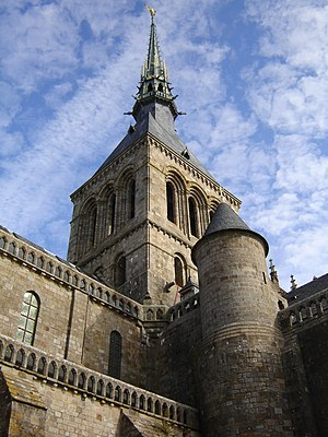Spire of the abbdy on Mont Saint-Michel in Nor...