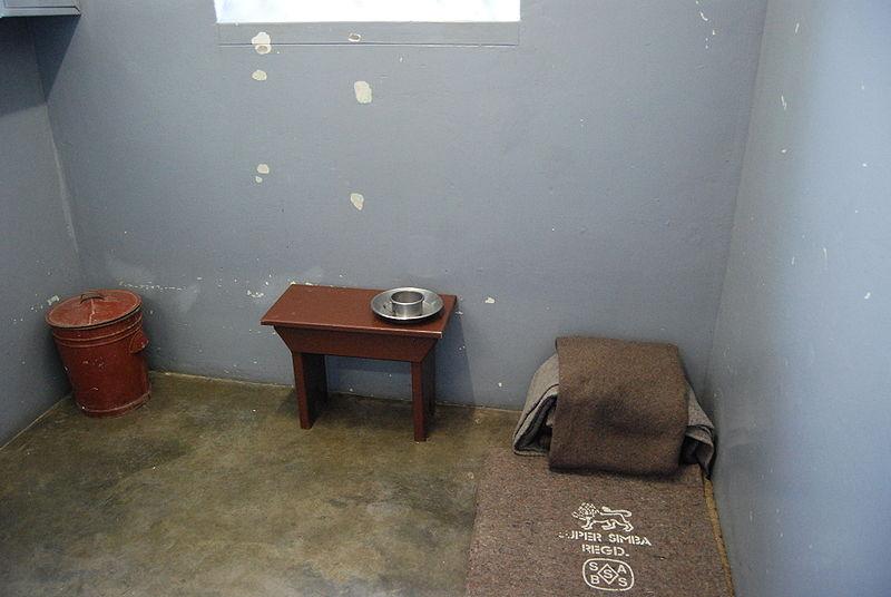 File:Nelson Mandela's prison cell, Robben Island, South Africa.jpg
