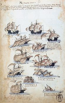 Pen and ink sketch depicting various sailing ships, some of which are in the process of foundering
