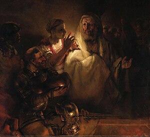Peter's Denial by Rembrandt, 1660. Jesus is sh...