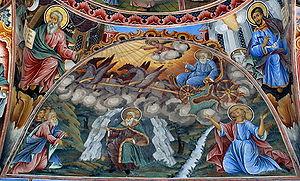 A fresco of Saint Ilia (Elijah) from the Rila ...
