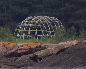 Frame for sweat lodge at Lake Superior Provinc...