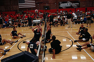 wheelchair volleyball soccer bean bag chair sitting wikipedia men s match between a combined us navy coast guard team and the army
