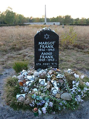 Memorial for Margot and Anne Frank at the form...