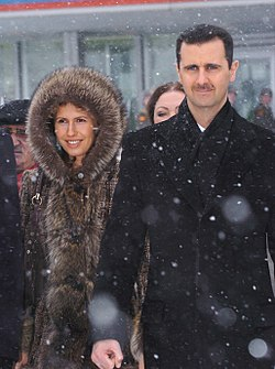 Bashar al-Assad with his wife Asma in Moscow, 27 May 2005