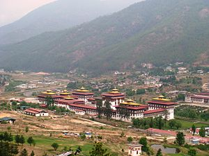 English: A bird's eye view of Thimphu, Bhutan ...