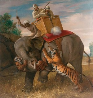 Tiger attacking hunters on elephant