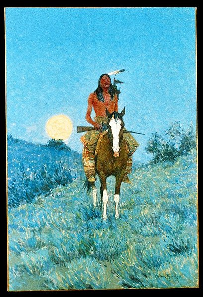 An Indian warrior. Painting by Frederic Remington.