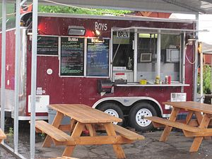 A Cajun food cart in a food cart cluster in SE...