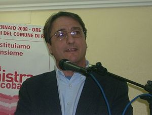 English: Claudio Fava at a conference in Riber...