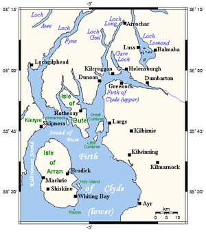Map of the Firth of Clyde and area